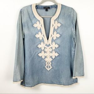 J. Crew Soutache Embroidered Chambray Top Size 6